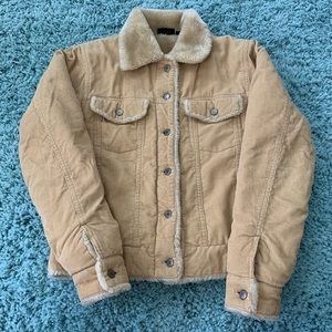 Hurley tan corduroy faux fur jacket
